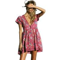 Boho שמלת הדפס פרחוני אדום מיני שמלות צווארון V שמלות נשים 2017 חדש קיץ הקצר Seeve Loose סגנון בוהמיה חוף שמלות