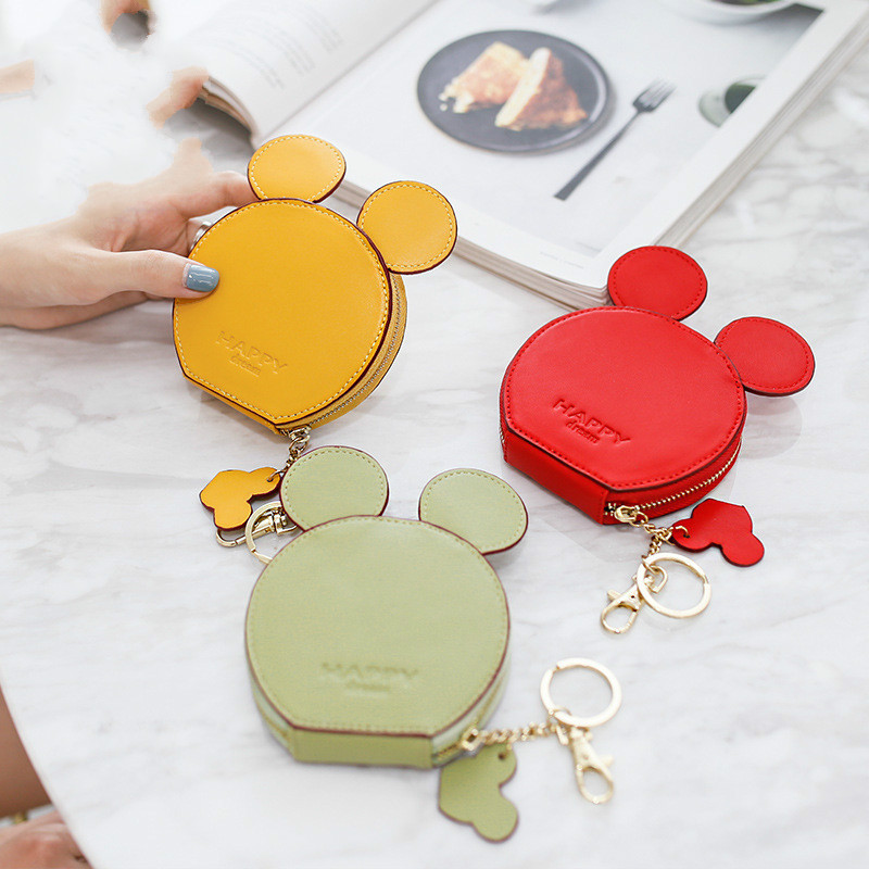 New fashion design Mickey head wallets women wallets small cute cartoon kawaii card holder key chain money bags for girls ladie(China)
