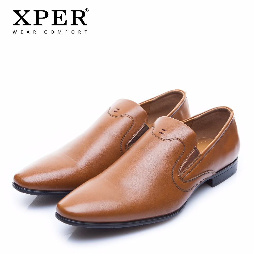 2018 XPER Brand Fashion Men Dress Shoes Slip On Business Shoes Men Wedding Shoes Comfortable Formal Male Shoes Brown #XYWD8680BR