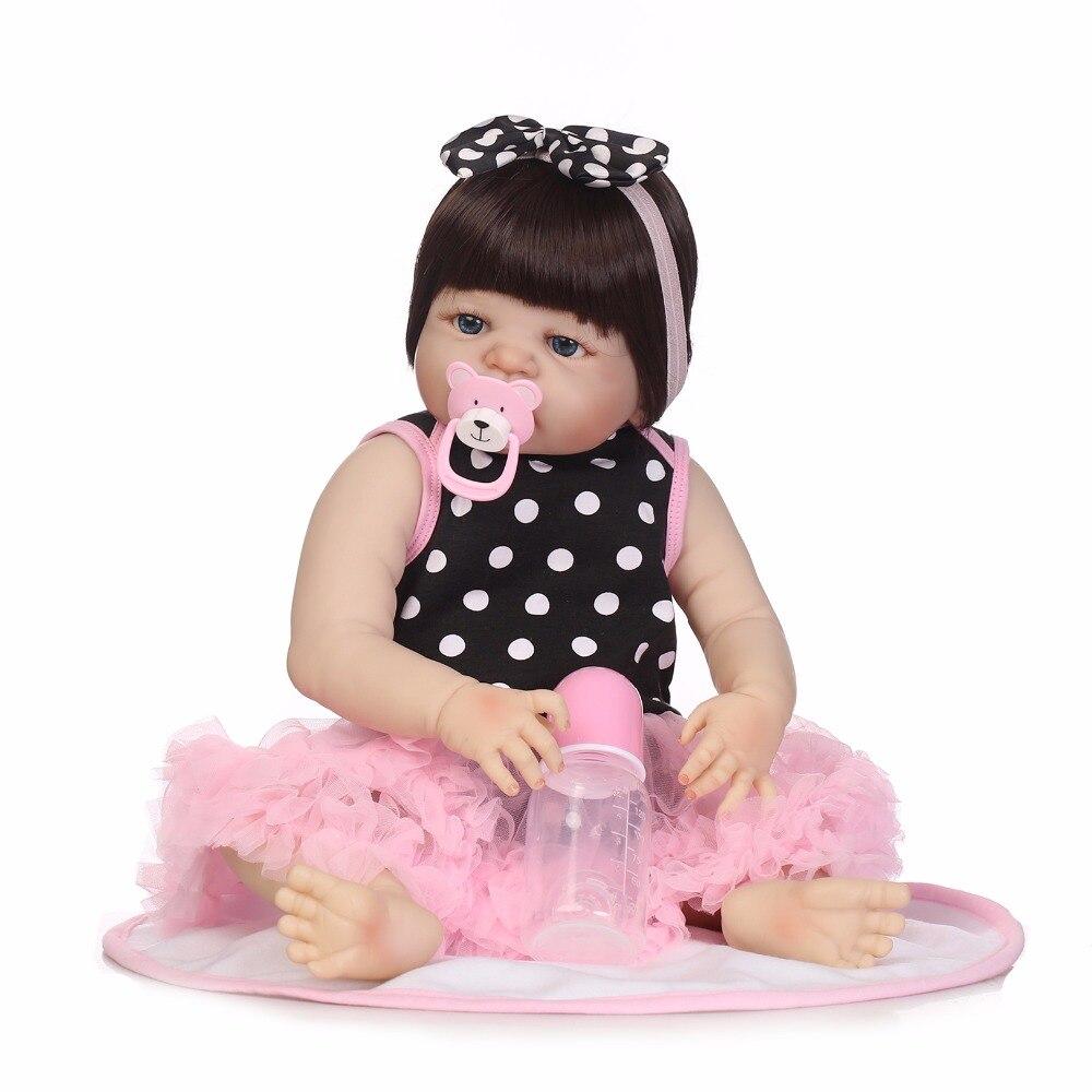 Npk 19 inch 46 cm bebes reborn girl 전신 실리콘 menina de reborn 아기 인형 신생아 장난감 아기 brinquedos 선물 생일 장난감-에서인형부터 완구 & 취미 의  그룹 2
