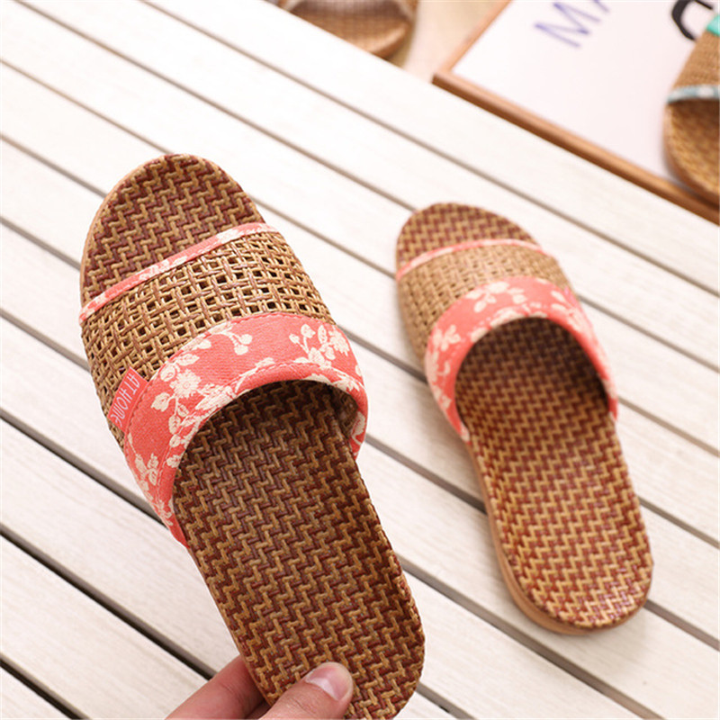 Suihyung Lovers Indoor Slippers 2019 New Summer Women Breathable Flax Slides Flip Flops Woman Man Casual Flat Sandals Plus Size 5