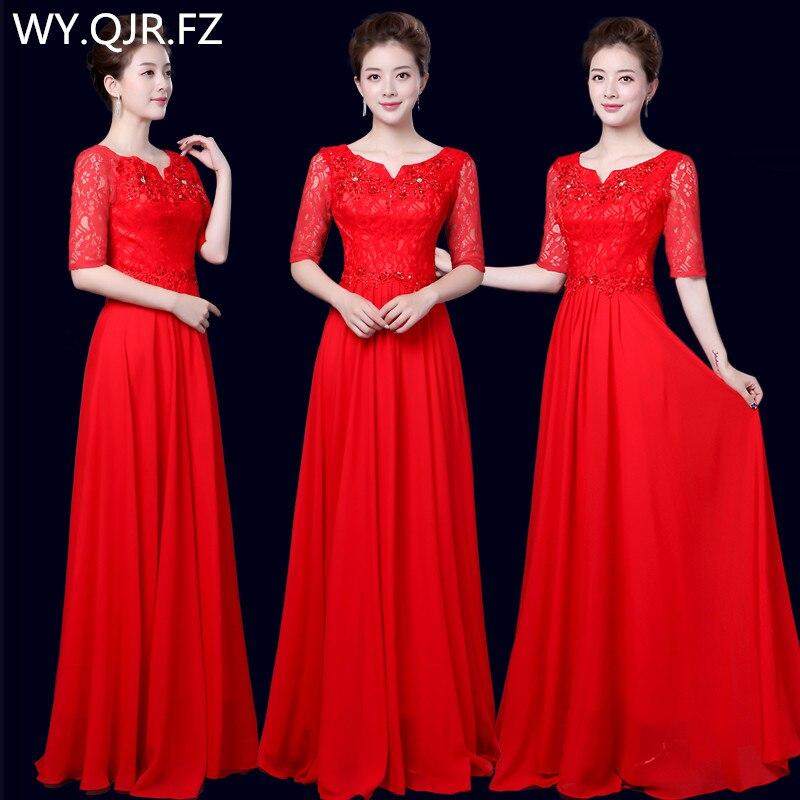 XYF68R#Bride Chiffon Lace Rrd Blue Long   Bridesmaid     Dresses   Chorus Costume Bohemia Wedding Party   Dress   Prom Gown wholesale women