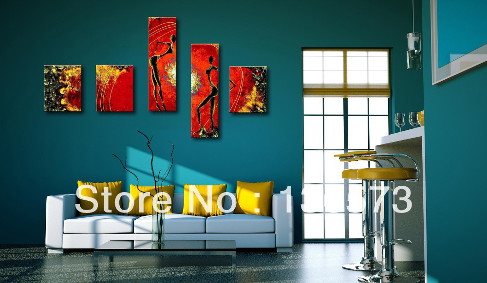 Hand Painted Yellow And Black Red African Figure Canvas Painting Oil  Abstract Modern Pictures 5 Panel Girls Room Wall Art Set In Painting U0026  Calligraphy From ... Part 29