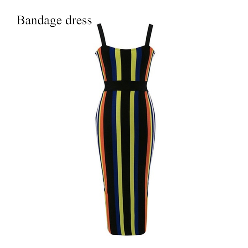 2017 New Arrival Women Bandage Dress Spaghetti Strap Candy Color Striped Summer Dress Celebrity Evening Party Dresses