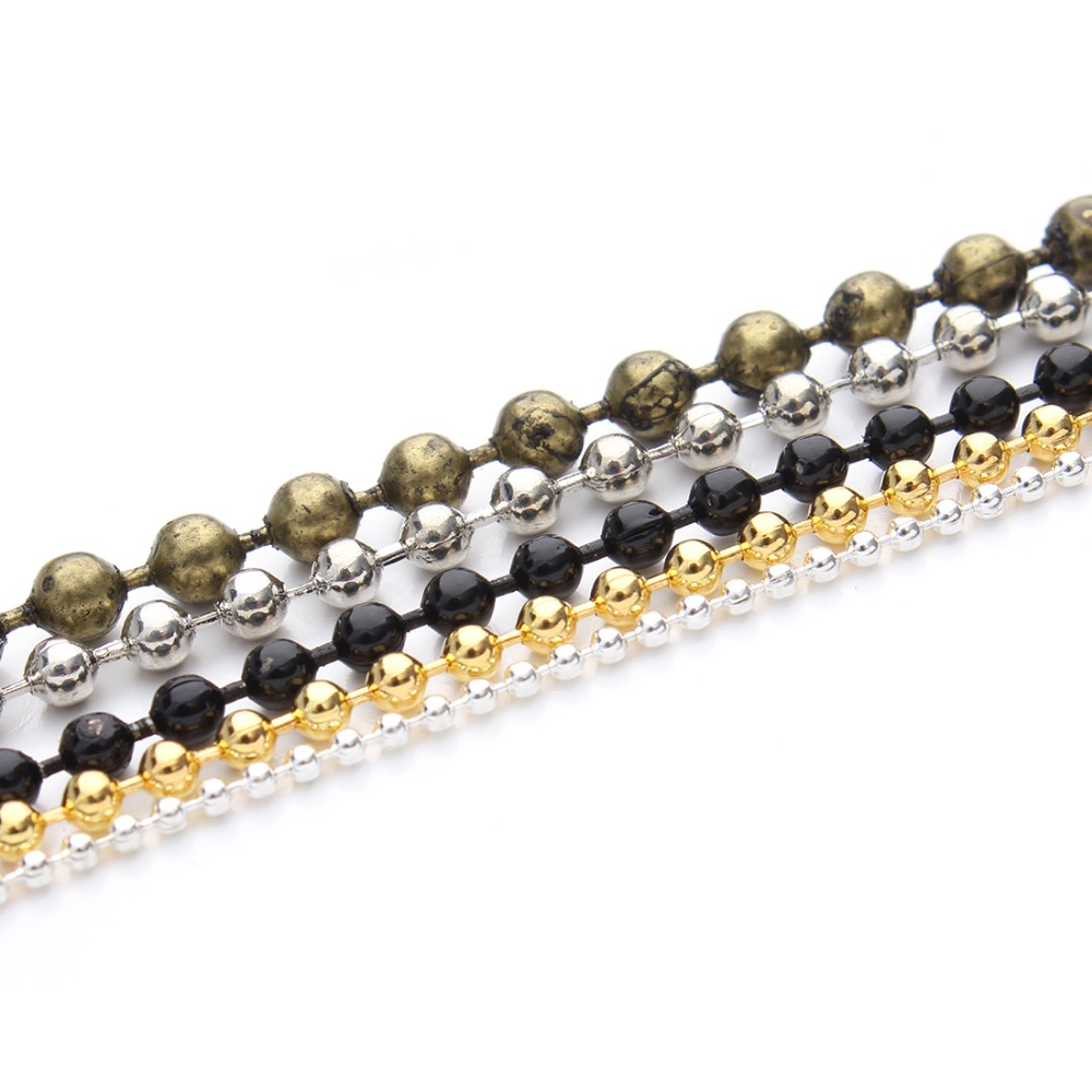 10m/lot Gold Silver Black Antique Bronze Color 1.2mm Ball Beads Bulk Chain Fit DIY Necklace Jewelry Making Findings Materials