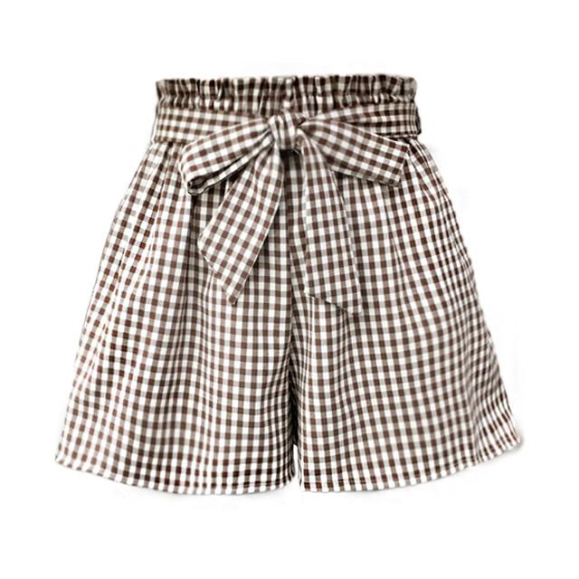 c5201e744f Pantalones cortos de verano para mujeres a cuadros marrón y gris rayas  vendaje pajarita alta cintura