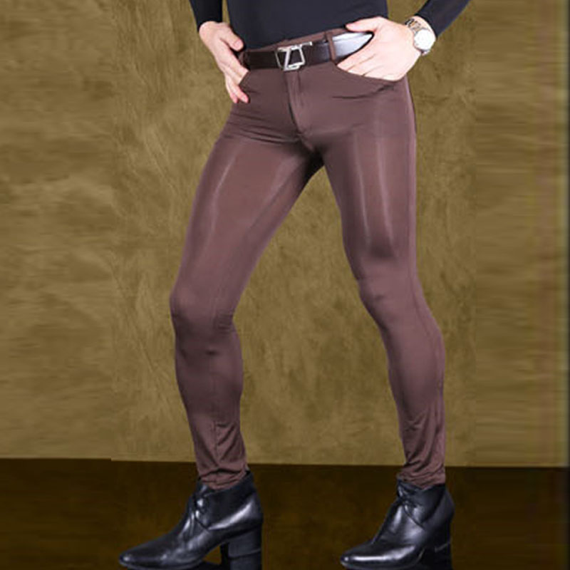 Mens Transparent Pants Sexy Ice Silk See Through Elastic Tight Trousers Silky Pencil Pants Erotic Lingerie Gay Wear Clubwear