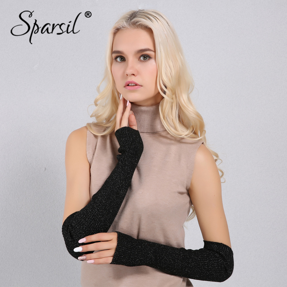 Sparsil Women Autumn Warm Fingerless Arm Warmers Cashmere Solid Gloves Shiny Colorful Point Mitten Female Lady Casual 40cm Glove