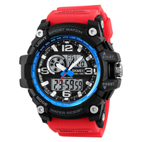Red Men Quartz Digital Wristwatch Male Military Clock Dual Time Hot Fashion Luxury Sport Watch Water