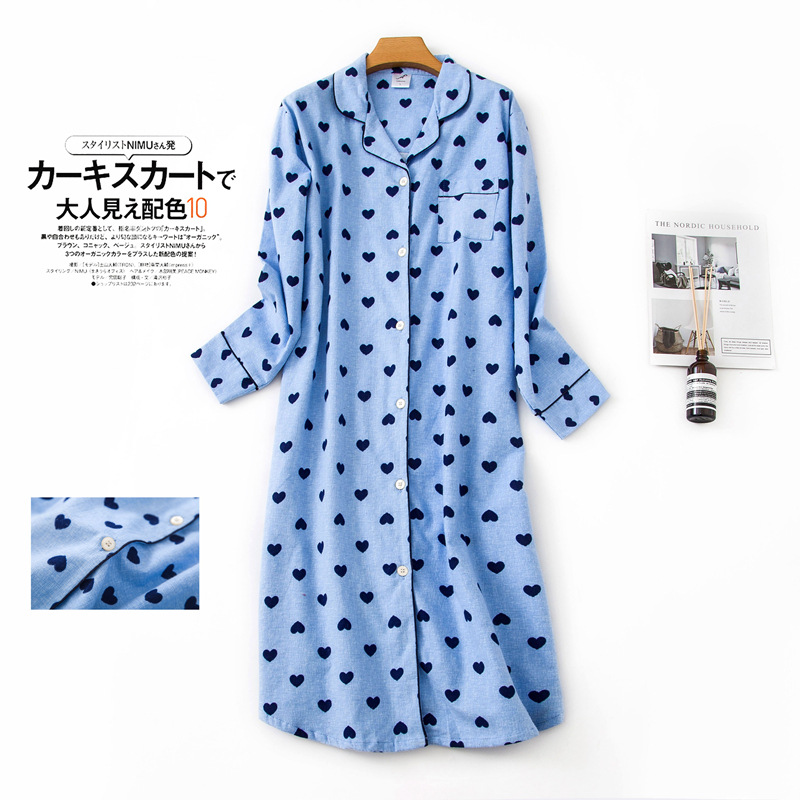 New Arrical Women's Brief Simple Nightgowns Blue Color With Hearts Shirt Collar Spring Sleep Dress Softy Cotton For Ladies