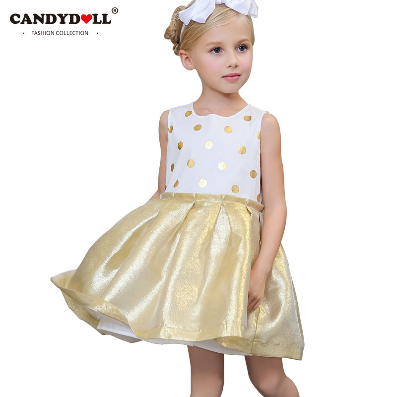 CANDYDOLL Girls Polka Dot Princess Dress Baby Girl Ball Gown Dress Summer 2017 Kids Sleeveless Party Dresses Size 4 to 10 Years 2016 new polka dot girls summer dress childrens clothes party dresses bowknot sleeveless princess kids baby clothing