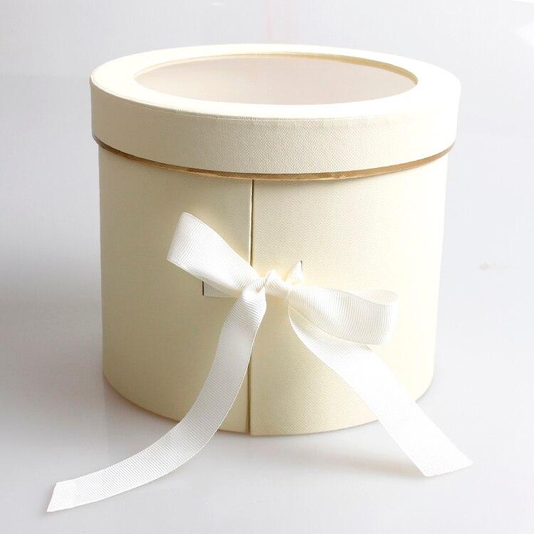 Двухслойные круглые бумажные коробки для цветов с лентой букет роз Подарочная упаковка картонная коробка День Святого Валентина свадебные украшения - Цвет: beige
