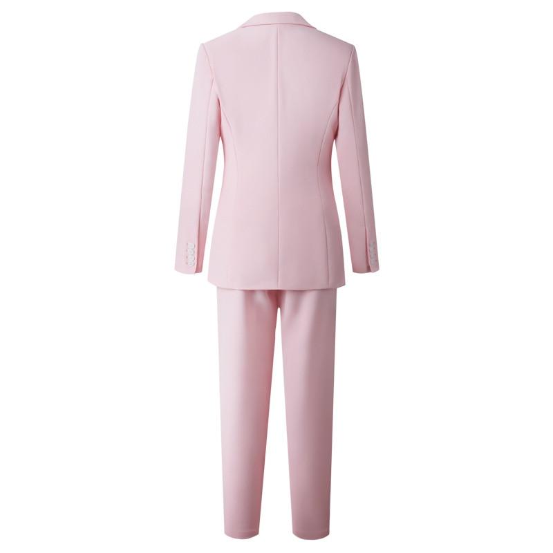 2019 New Korean Spring Autumn Pant Suits Office Lady Elegant Pink Blazer+Vest+Pants Three Piece Set Outfits For Women