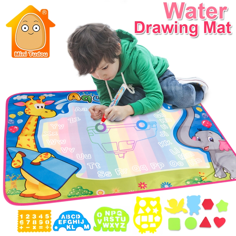 72x52cm Kids Crafts Drawing Toys Water Mat Painting Toy With Aqua Magic Pens And Templates Educational Gift For Children