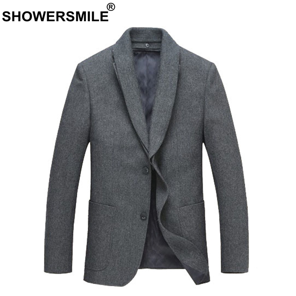 SHOWERSMILE Mens Wool Blazers Grey Suit Jackets Smart Casual Slim Fit Suits Blazer Male Classic Autumn Winter Brand Clothing