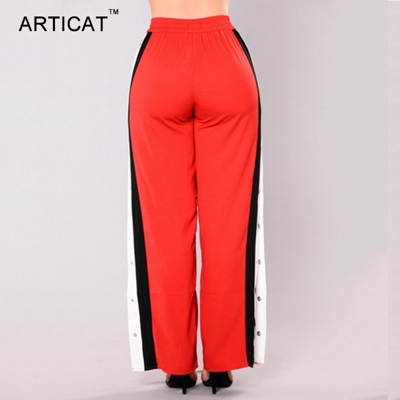 HTB1bWYaSXXXXXcwXFXXq6xXFXXXT - Wide Leg Pants Side Split Women Pants High PTC 153