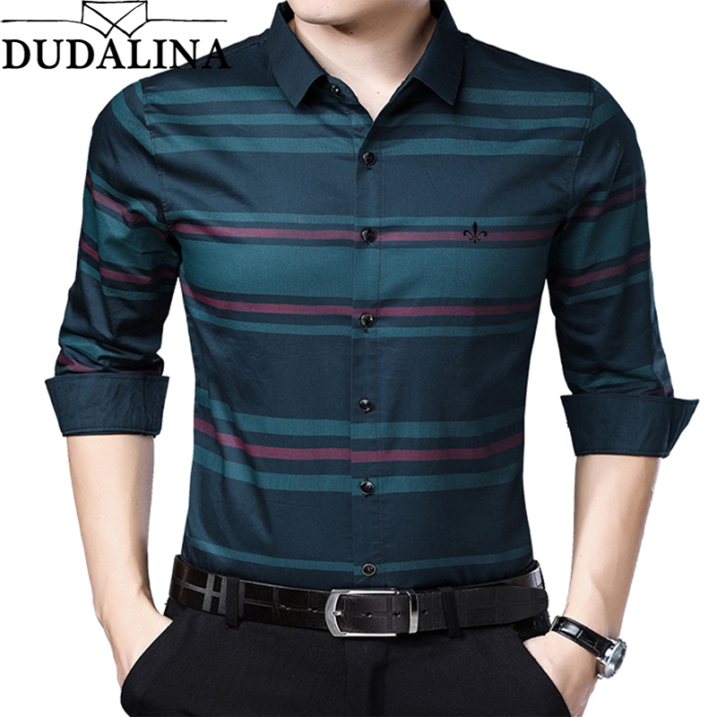 DUDALINA Me Shirt 2019 Men's Striped Cotton Dress Shirts Male Red Dark Blue Long Sleeve Slim Fit Business Casual Shirt Camisa-in Casual Shirts from Men's Clothing