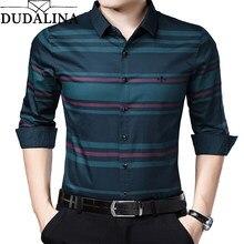 033eb2d24f5 DUDALINA Me Shirt 2019 camisas de vestir de algodón a rayas para hombre  rojo azul oscuro manga larga Slim Fit Casual de negocios.
