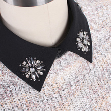 New Solid color diamond Shirt Fake Collar White & Black Blouse simple Detachable Collars Women Clothes Accessories