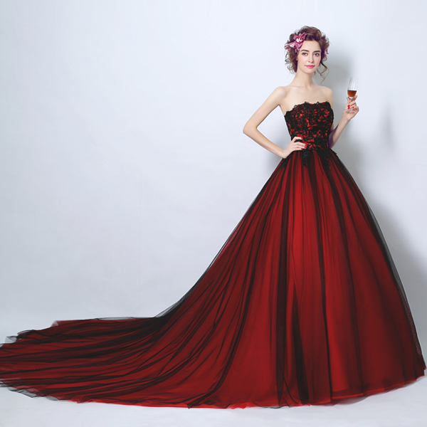 Robe De Soiree Gothic red and black Charm A line strapless Mother of the Bride dresses court train special occasion dress