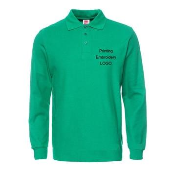 Polo Shirt Men Embroidery/vinyl Custom LOGO Men Polo Long sleeve polos Top Cotton Shirts Solid Adult Casual Active tee Wholesale