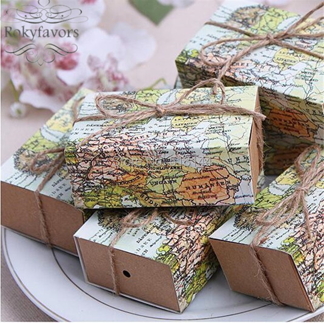 around the world map favor boxes traveling theme