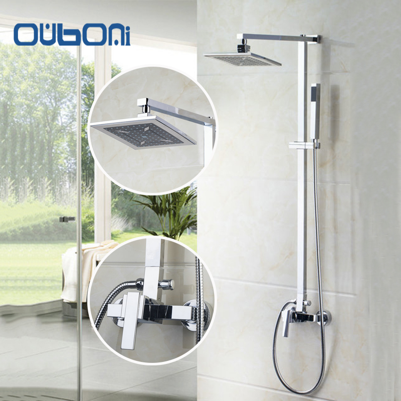 OUBONI Brand New Arrival High Quality Chrome Water Shower Faucet Set Bath Tub Shower Mixers with Handshower 8