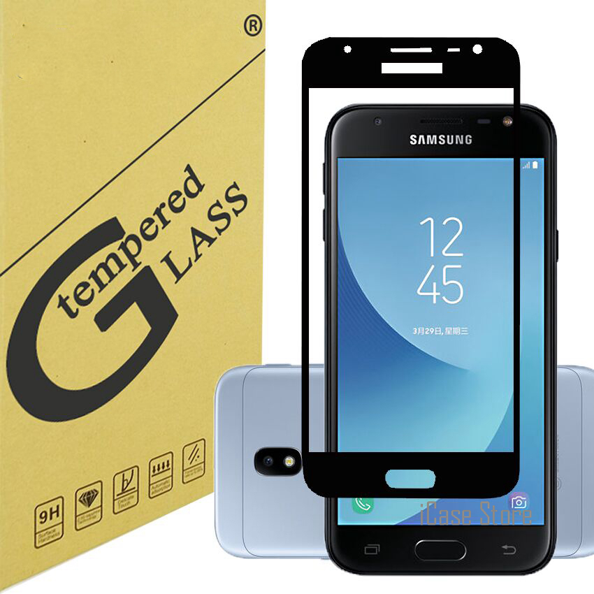 Tempered Glass For <font><b>Samsung</b></font> Galaxy J3 2017 J330 <font><b>J330F</b></font> J330FN J330H <font><b>SM</b></font>-<font><b>J330F</b></font>/<font><b>DS</b></font> DUOS Screen Protector Case Full Cover Protective image