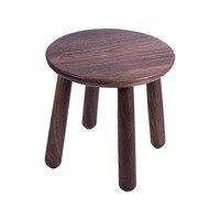Minimalist Modern Design Solid Walnut Wood Kids Stool, Walnut Wood Kids furniture, Walnut wood Living Room Leisure Low stool
