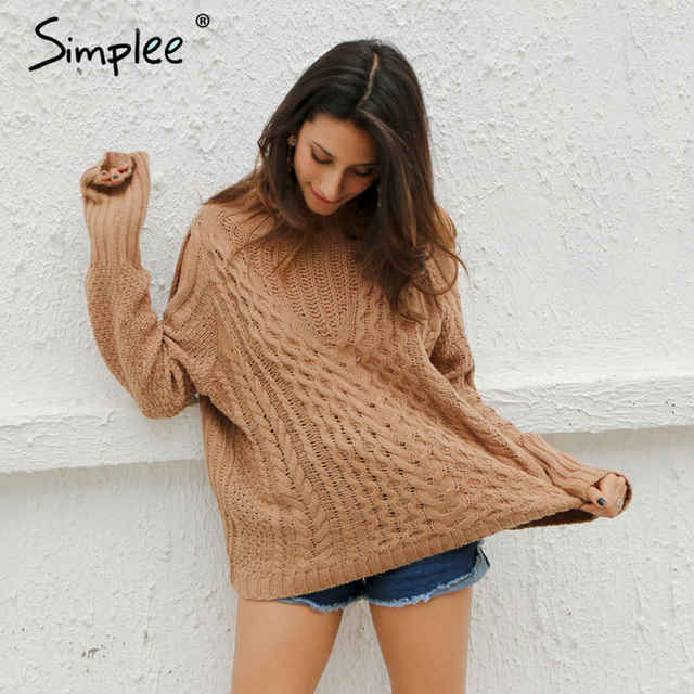 Simplee Cold shoulder knitting pullover Casual autumn winter sweater women twist  jumper Hollow out high neck sweater female
