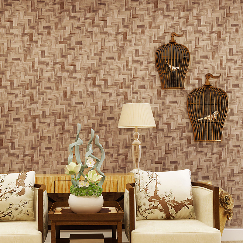 Chinese Style Retro Imitation Straw Bamboo Texture Wallpaper For Living Room 3D PVC Waterproof Embossed Vinyl Wall Paper Rolls ft 150603 senior imitation straw texture striped wallpaper roll for living room vinyl wall paperpapel parede listrado