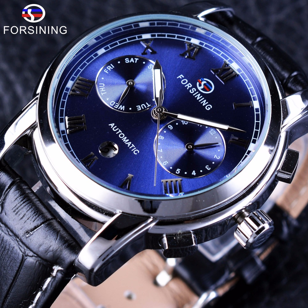 Forsining Waterproof Men Wrist Watch Blue Ocean Dial Calendar Genuine Leather Men Mechanical Automatic Watch Top