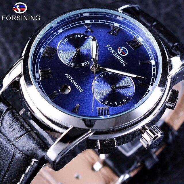 4ab221b307e Forsining Homens Relógio de Pulso À Prova D  Água Do Oceano Azul Dial  Calendário Couro