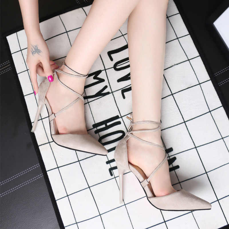 best service 9a4f0 fced1 Sexy Black Pink Grey Strappy Stiletto High Heels Red Bottom High Heels  Women's Shoes With Heels Wedding Party Women Pumps