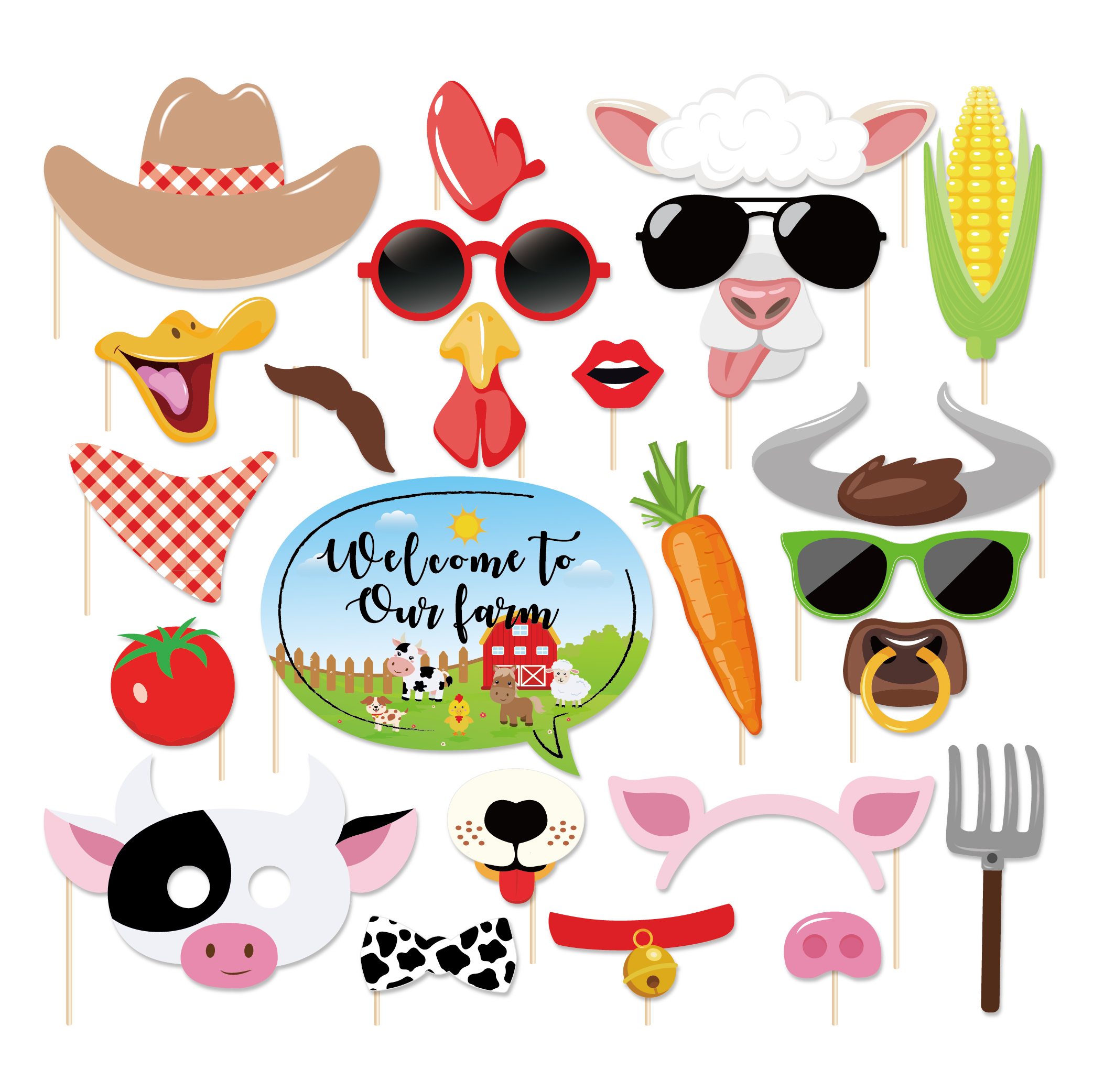25pcs Farm Animals Theme Party Decorations DIY Photobooth Props Pig Chicken Paper Cards Photobooth Props Party Favors Supplies