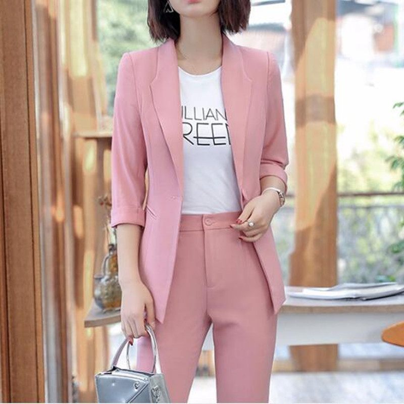 Womens Business Formal Suit Customers First Customized New Fashion Trend Womens Womens Solid Color Slim Suit Two-piece Suit jacket + Pants