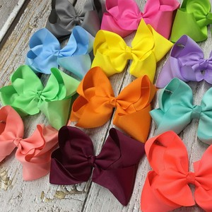 Image 3 - 6 Inch Solid Hair Bow With Clip For Girl,Boutique Ribbon Hair Bow For Kids Classic Handmade Hair Accessories 30pcs/lot