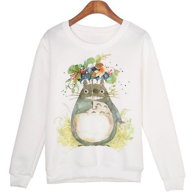 Casual Totoro Print Sweatshirt