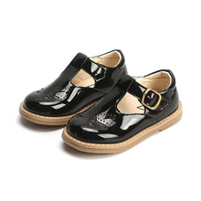 COZULMA Baby Kids Butterfly Cut-outs Leather Shoes Boys Girls T-strap Hook & Loop Children Non-slip Shcool 21-30