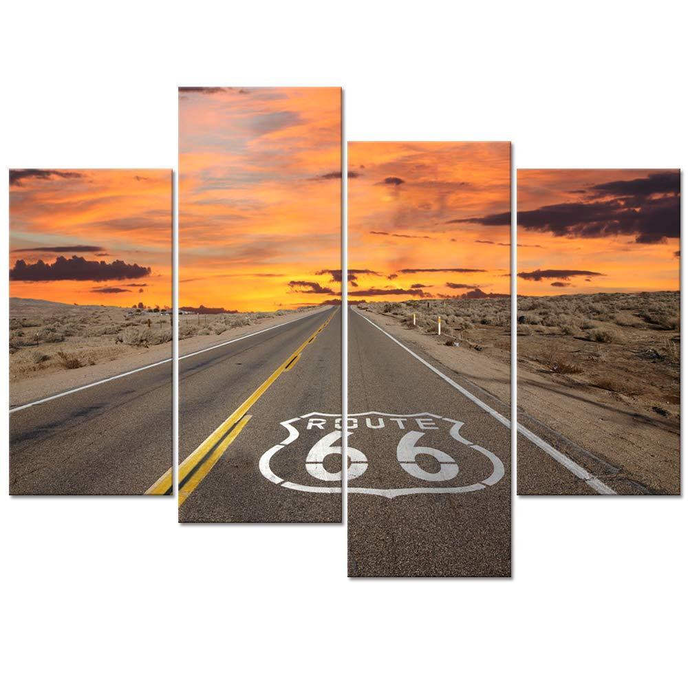 4 pièces toile Art mural Route 66 signe lever du soleil dans la californie Mojave désert Route paysage photo imprime livraison directe