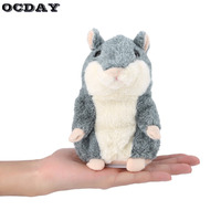 OCDAY Plush Toy Talking Hamster Mouse Pet Gray Interactive Cute Sound Record Hamster Educational Toy For