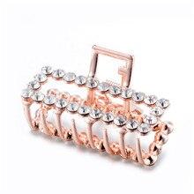 Top Rhinestone Crystal Hair Claws Ornaments Brand Design Jewelry Big Geometric Square Crab Clip Wedding Accessories