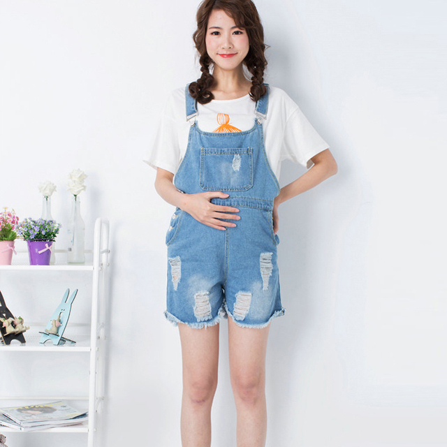 d387c0353ff Blue Maternity Ripped Denim Jumpsuite Rompers Pregnant Overalls Pregnancy  Jumpsuits Plus Size Premama Belly Support Shorts Jeans