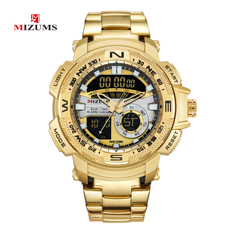 MIZUMS Military Wrist Watches LED Digital Sport Watch Men Gold Stainless Steel Band Dual Time Quartz