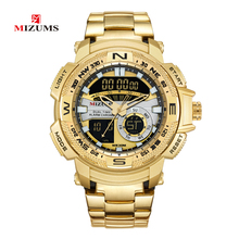 MIZUMS Military Wrist Watches LED Digital Sport Watch Men Gold Stainless Steel Band Dual Time Quartz Clock Man Relogio Masculino alexis brand date backlight water resistant stainless steel band new dual time analog digital watches for men led watch