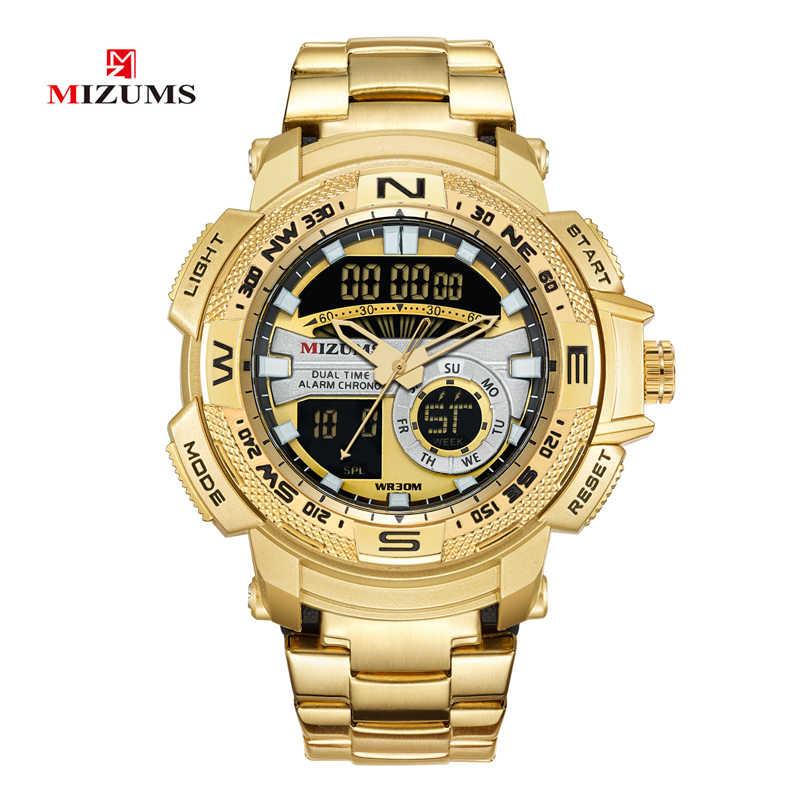 4896ccf13c7a MIZUMS militar Relojes LED Digital del reloj del deporte de los hombres de  oro de acero