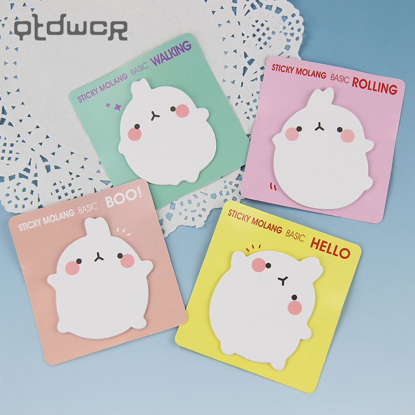 4PCS Cute Molang Rabbit Memo Pad Paper Sticky Notes Post It Notepad Kawaii Stationery school Supplies 4 Color Available 1pc lot cute rabbit design memo pad office accessories memos sticky notes school stationery post it supplies tt 2766