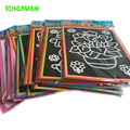20pcs/lot 13*9.5cm Two-in-one Magic Color Scratch Art Paper Coloring Cards Scraping Drawing Toys for Children