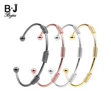 BOJIU Luxury Designer Copper Bangles For Women Adjustable Gold Silver Rose Gold Black Gun Inspirational Arm Cuff Bracelets BR021 все цены