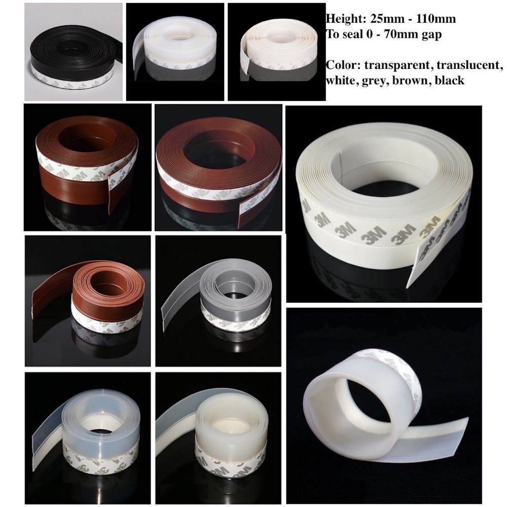 Draft Stopper Sliding Sash Glass Metal Wooden Door Window Seals 25mm 35mm 45mm x 5m 60mm 110mm x 3m Brown White Black Gray